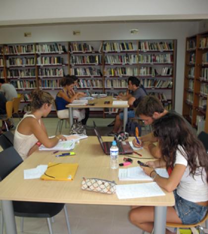 Unos jóvenes utilizando la biblioteca.