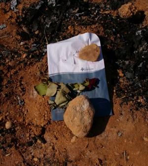 Sobre el terreno, una flor en recuerdo de las víctimas de este fatal accidente