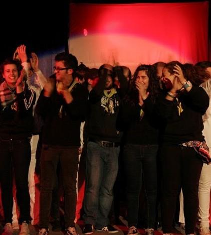 Un momento de la representación de Jesucristo Superstar por parte de los integrantes del Club d'Espla Utopia-Jovent durante las pasadas fiestas de Semana Santa.