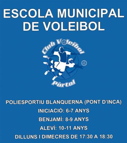 Cartel informativo de la actividad de la escuela de Voley