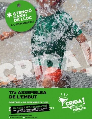 Cartel de la convocatoria del 4 de septiembre en el IES Marratxí