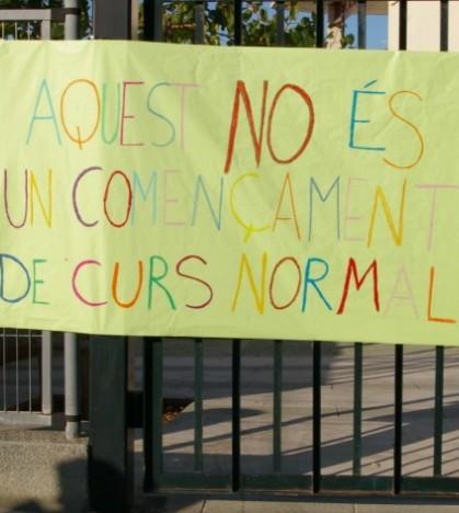 Una de las pancartas que se mostró en uno de los centros educativos de Marratxí el día de la vuelta al cole