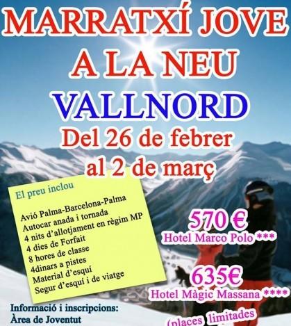 Cartel del viaje a la nieve para los jóvenes que organiza el Ajuntament.
