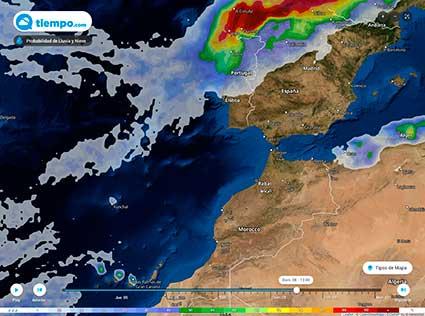 El-domingo-será-el-día-con-mayor-riesgo-de-precipitaciones,-concentrándose-en-el-noroeste-peninsular-y-norte-de-Canarias,